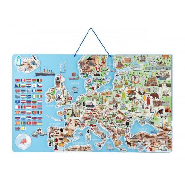 Magnetická mapa EVROPY, společenská hra 3 v 1 v AJ
