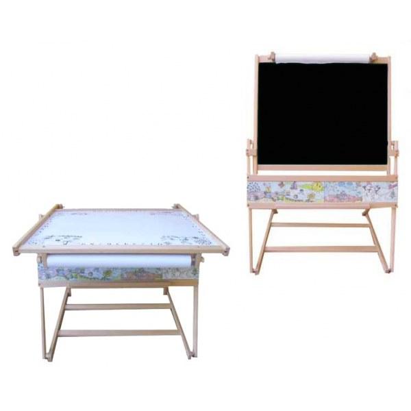 DŘEVO Dětská školní tabule FILIP II. na křídu fix s papírem + stolek MAGNETICKÁ