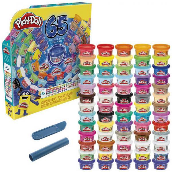 HASBRO PLAY-DOH MEGA barevný set 65 kelímků s modelínou 1,84kg v krabici