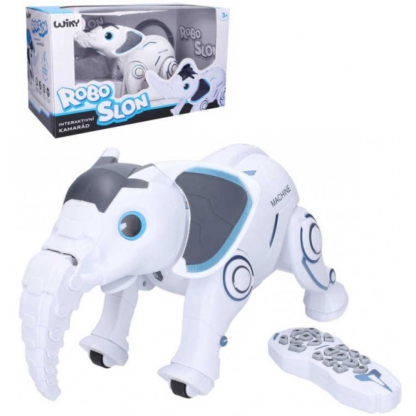 RC Robot slon interaktivní 33cm reaguje na povely na baterie CZ Světlo Zvuk