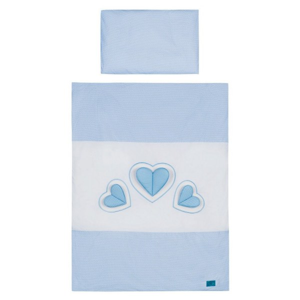 6-dílné ložní povlečení Belisima Tři srdce 100/135 bílo- modrá