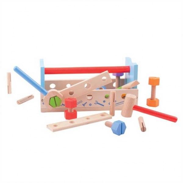 Bigjigs Toys Ponk a přepravka na nářadí 2v1