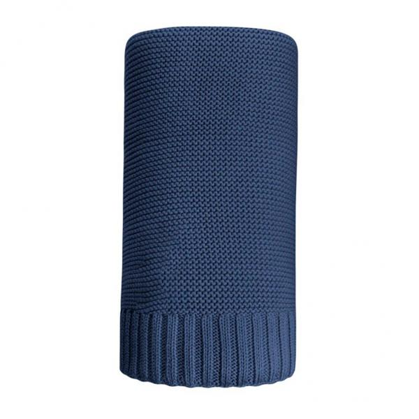 Bambusová pletená deka NEW BABY 100x80 cm tmavě - modrá