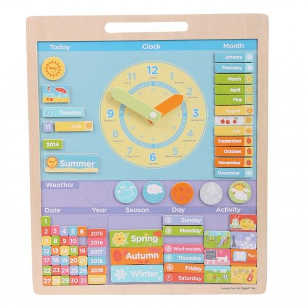 Anglický magnetický kalendář s hodinami