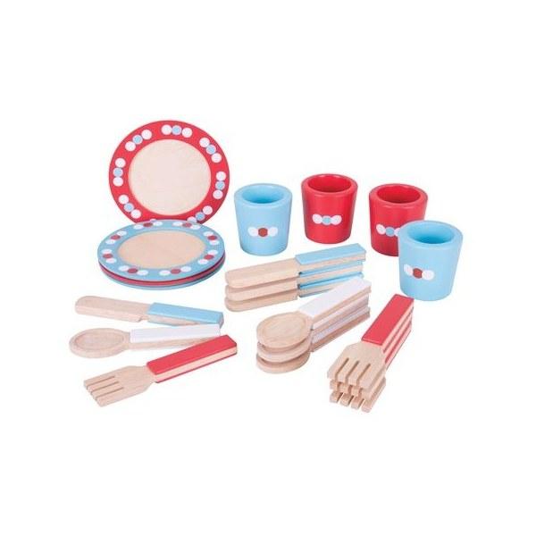 Bigjigs Toys Dřevěný jídelní servis s puntíky