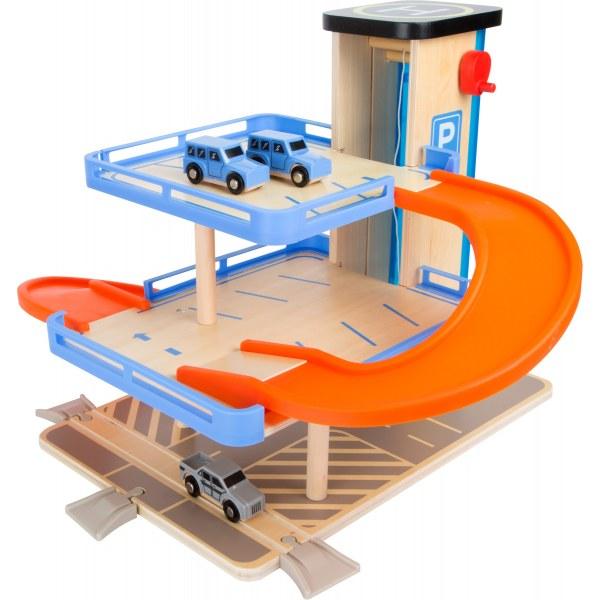 Small Foot Dřevěná patrová garáž s výtahem
