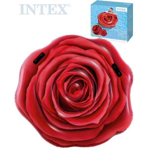 INTEX Lehátko nafukovací Rudá růže 137x132cm matrace s úchyty na vodu 58783