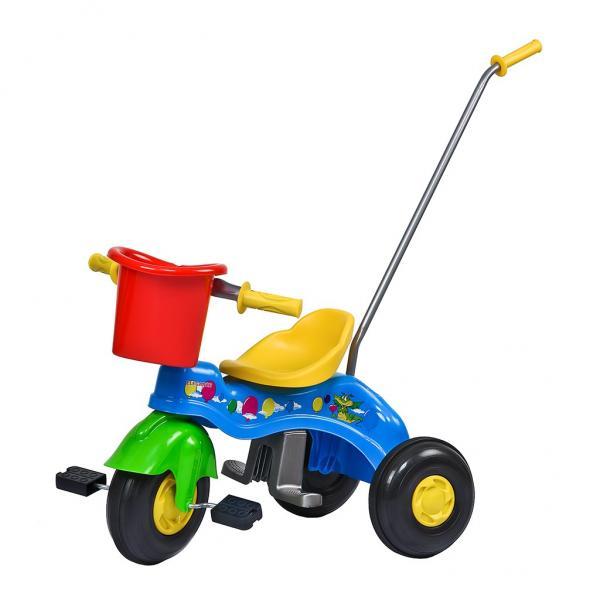 Dětská šlapací tříkolka s vodící tyčí BAYO JUNIOR