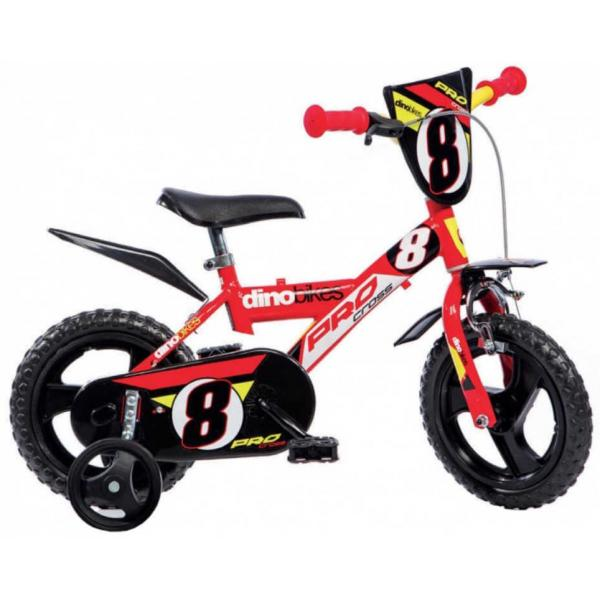 """ACRA Dětské kolo Dino Bikes 12"""" balanční kolečka červené"""