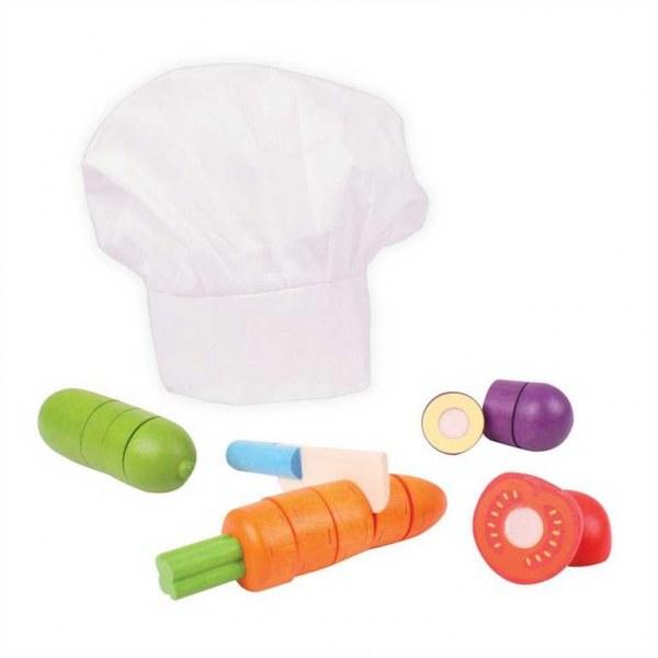 Bigjigs Toys Dřevěná krájecí zelenina s čepicí